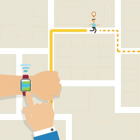 Hand with Smartwatch technology to track jogging activity