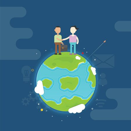 Man and woman handshake on the top of earth Illustration