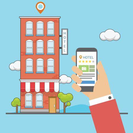 Check hotel rating with application in the cellphone Ilustración de vector