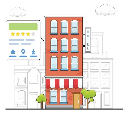 Check hotel rating and review popup with speech bubble concept Illustration