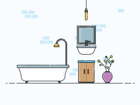 Bathroom interior indoor layout with modern design Vecteurs