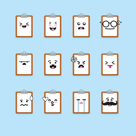 Smile emoji emoticon face in clipboard with a lot of variation