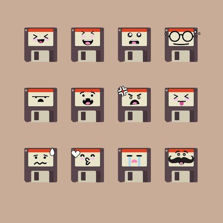 Smile emoji emoticon face in floppy disk with a lot of variation Illustration