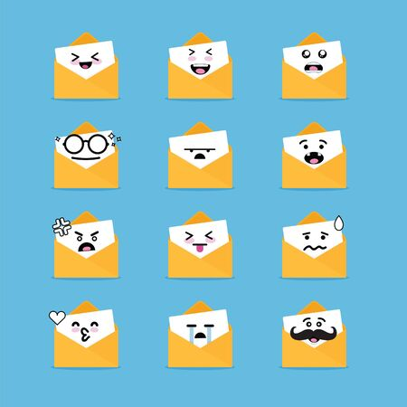 Smile emoji emoticon face in email with a lot of variation Illustration