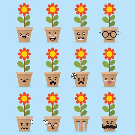 Smile emoji emoticon face in flower with a lot of variation Illustration