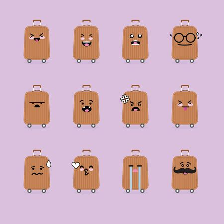 Smile emoji emoticon face in luggage with a lot of variation Illustration