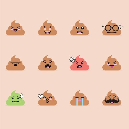 Smile emoji emoticon face in poop with a lot of variation Illustration
