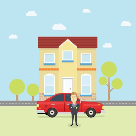 Young business man in front of his new car and house