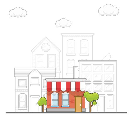 Coloring store in the city, highlight while the other in black and white Illustration