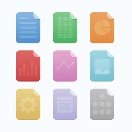 Colorful paper icon with different symbol each icon