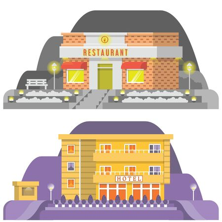 Two scenery of nature showing hotel and restaurant Stock Vector - 145503135