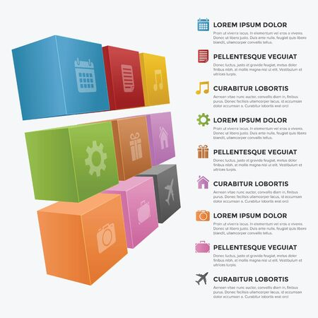 3 Dimension Infographic block with different color and icon Illustration