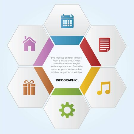 Hexagon infographic like bee nest with icon Illustration