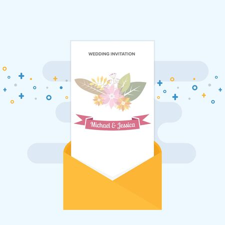 An envelope open with wedding invitation inside Illustration