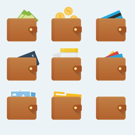 Smooth wallet icon with different stuff inside Stock Vector - 145536619
