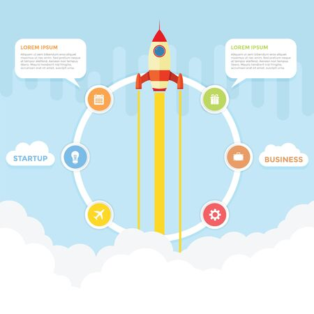 Startup and business infographic with rocket launching in the background