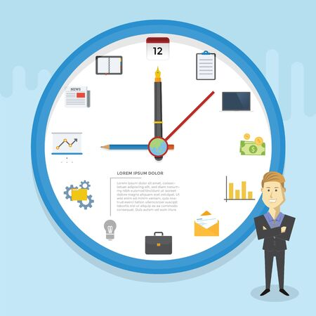 Business Infographic with clock concept and icon