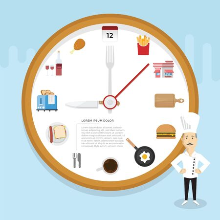 Restaurant Infographic with clock concept and icon Illustration