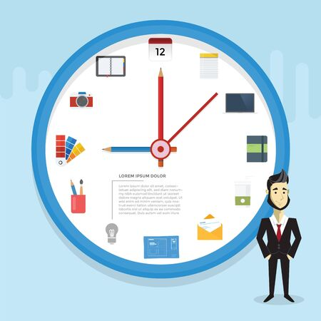 Designer Infographic with clock concept and icon