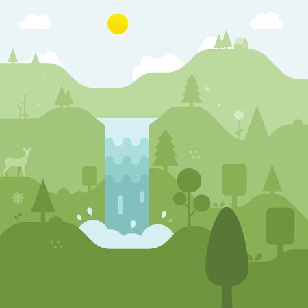 Forest scene with tree and waterfall Illustration