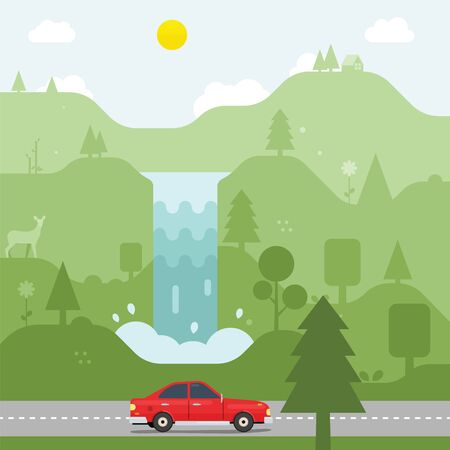 Car driving across the forest and waterfall in country road