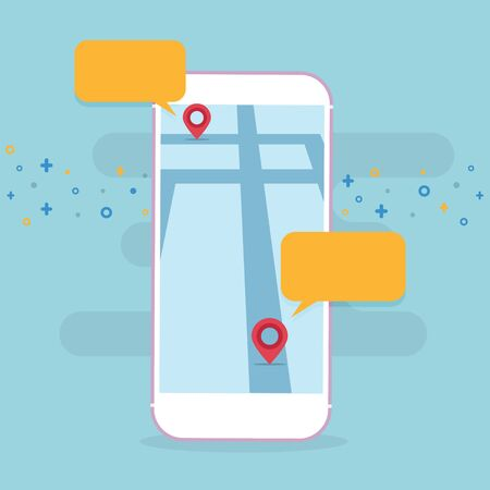 Cellphone with maps and location application Illustration