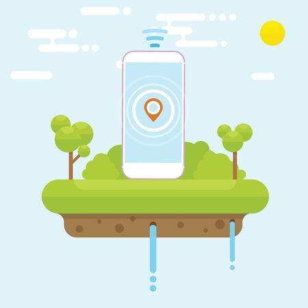 Floating island concept with cellphone and tree Stock Vector - 145536643