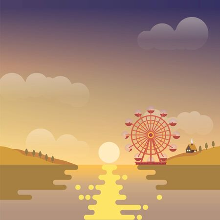 Lake with sunset scene and ferris wheel in the background