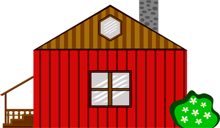 barn wood: Red wooden farm house