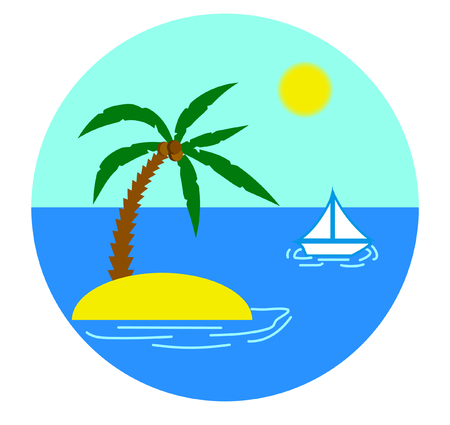 caribbean cruise: Tropical Island with Palm and Yacht in the Sea Illustration