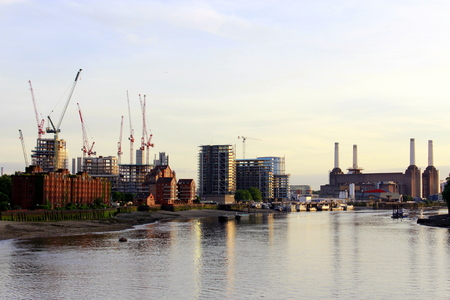 powerstation: Thames river with view to Battersea station on a sunny summer evening. Stock Photo