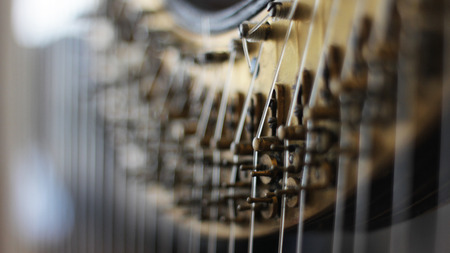 Close up of a vintage concert harp. Stock Photo