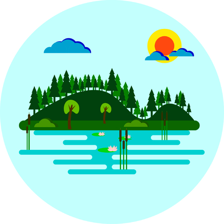 Tranquil Lake with Trees and Forest Covered Hillside Vector Flat Design