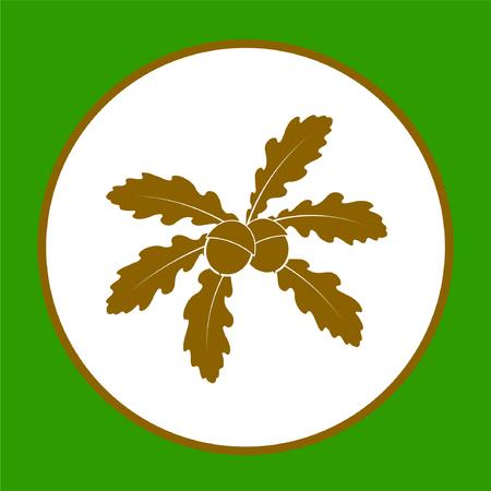 Oak leaves with acorns vector art sticker