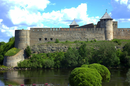 Ivangorod fortress on the border between Russia and European Union on a sunny summer day. Editorial