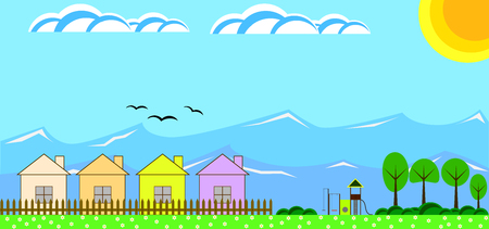 Countryside Houses in the Mountains with a Children Playground Flat Design Illustration