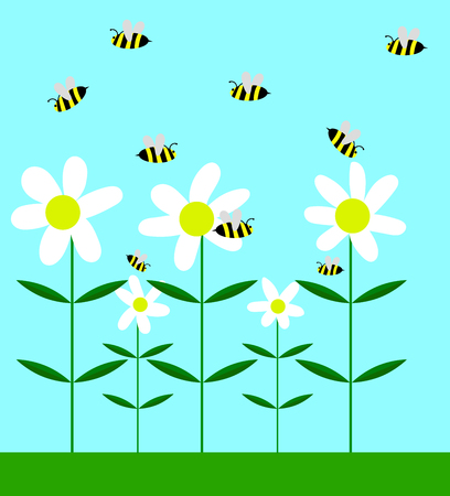 Bees pollinating chamomile flowers flat vector art.