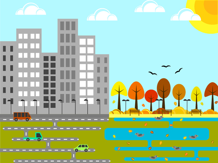 Industrial city with park and pond in autumn flat design. Illustration