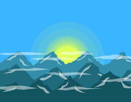 Sunrise or sunset in the mountains flat design.