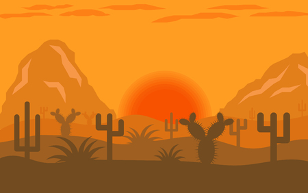 Arizona desert sunrise or sunset flat design