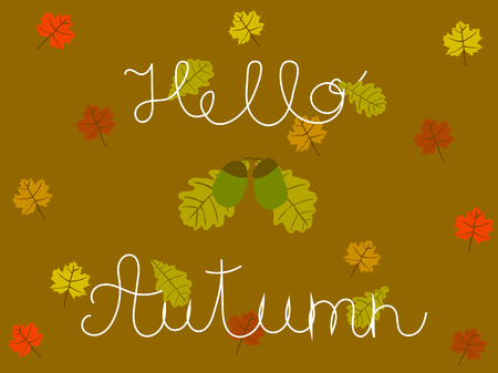 Hello autumn hand written concept with oak and maple leaves vector art. Illustration