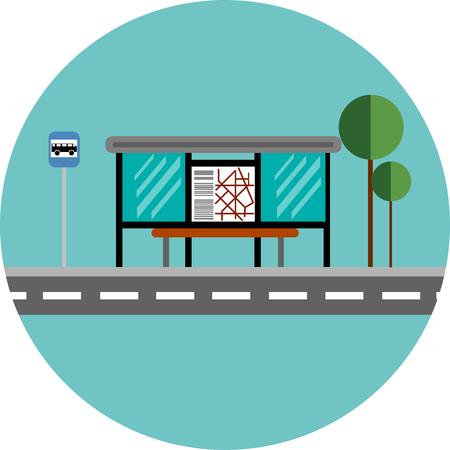 Bus stop flat design. Illustration