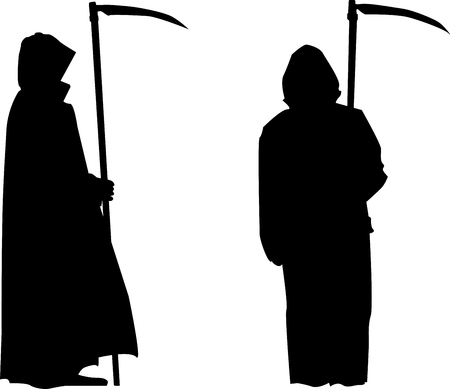 Grim reaper with scythe silhouette