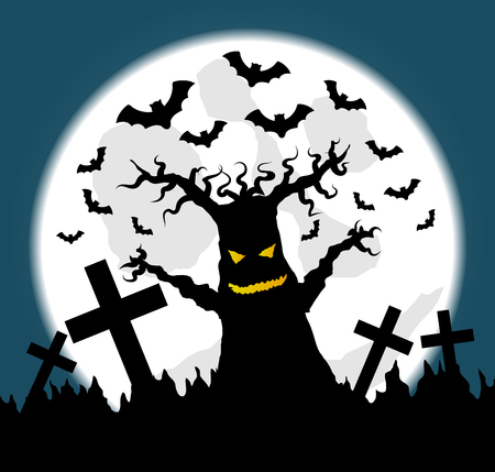 Halloween illustration with full moon and scary old tree in graveyard Vector Illustration