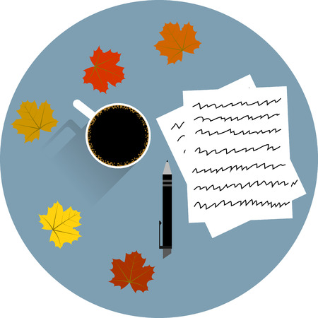 Table with a cup of coffee pen papers and colorful maple leaves Illustration