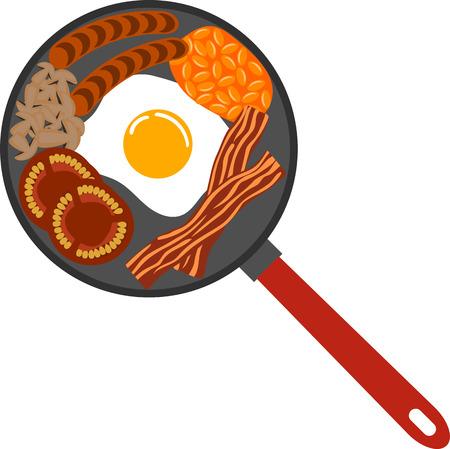Breakfast on frying pan vector illustration.