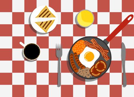 English breakfast with Coffee vector illustration. Çizim