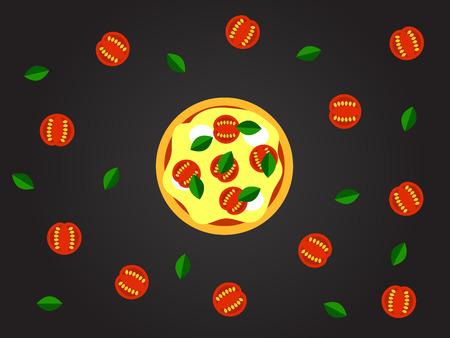 Pizza margherita vector illustration. Illustration