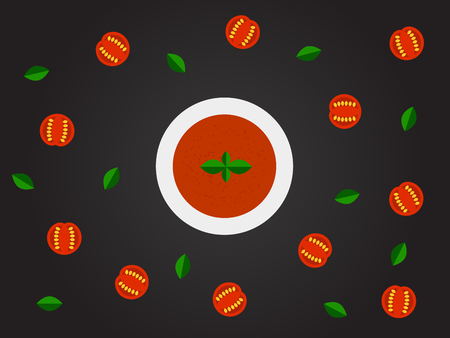 Tomato soup top view vector illustration.
