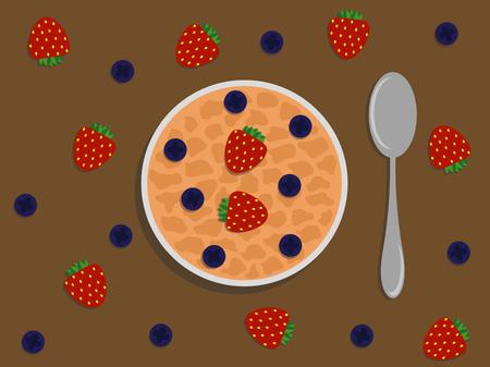 Porridge with Berries Flat Style